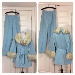 Vintage Lilli Ann Knit pant suit w/ fur!